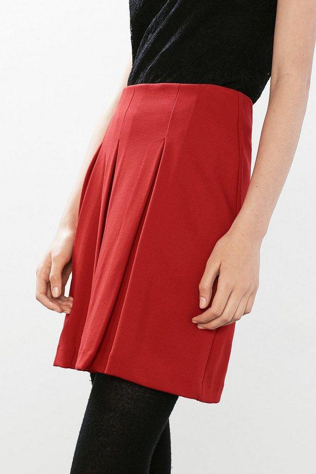 ESPRIT CASUAL Mini-Faltenrock aus dichtem Jersey/Stretch in RED