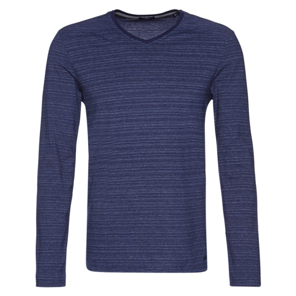 TOM TAILOR T-Shirt »v-neck with reversed parts« in true dark blue