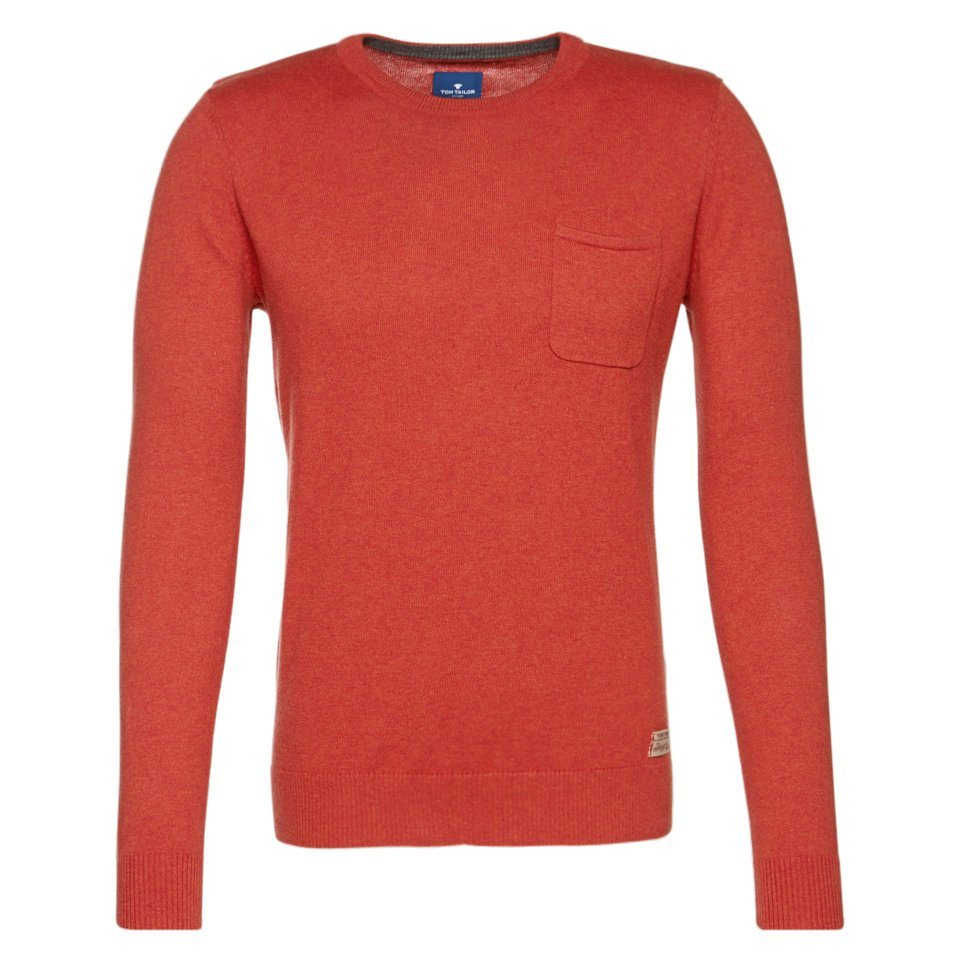 TOM TAILOR Pullover »sweater with chest pocket« in heated orange melang
