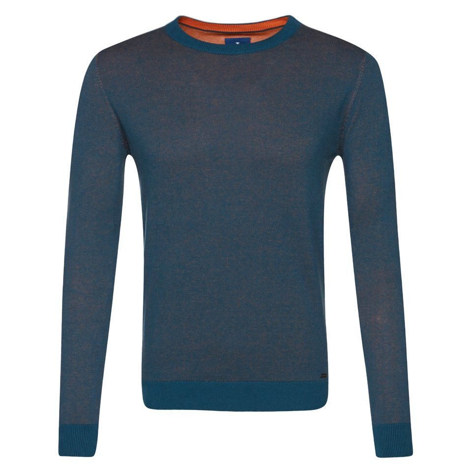 TOM TAILOR Pullover »modern basic crew-neck sweater« in perfect even blue