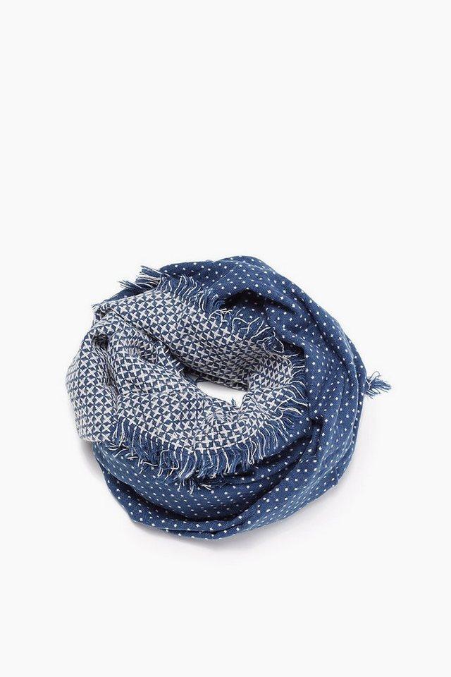 ESPRIT CASUAL Weicher Jacquard Web-Schal mit Punkten in BLUE