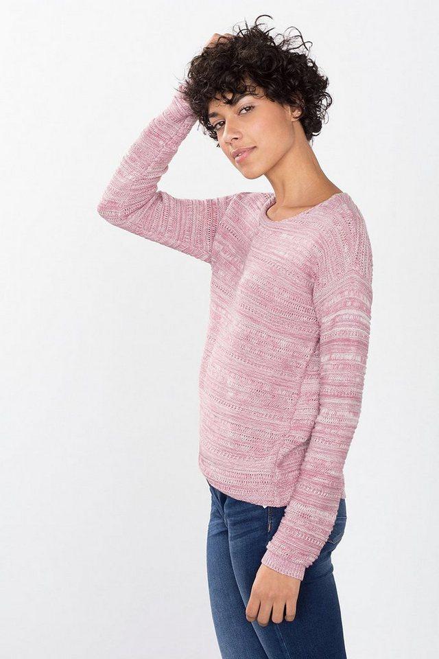 ESPRIT CASUAL Struktur-Pullover aus 100% Baumwolle in MAUVE