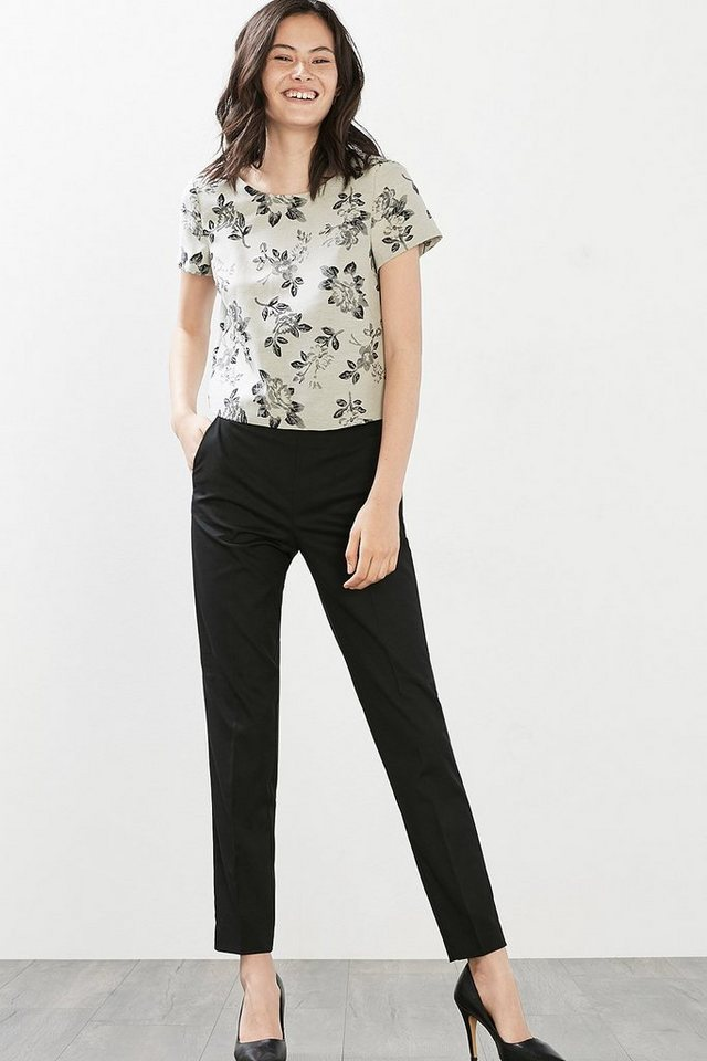 ESPRIT COLLECTION Flower Jacquard-Bluse in OFF WHITE