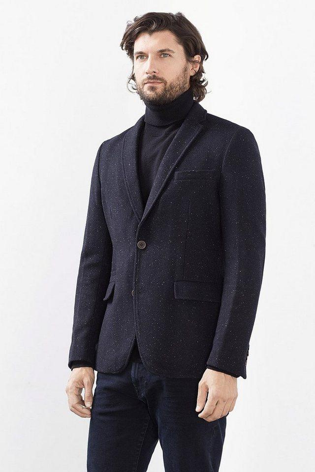 ESPRIT CASUAL Tweed-Blazer aus weichem Woll-Mix in NAVY