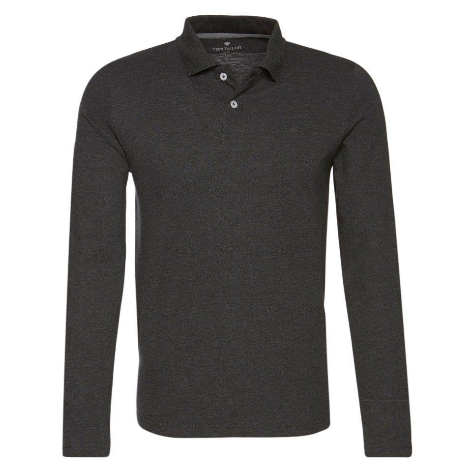 TOM TAILOR Poloshirt »Langärmliges Polo-Shirt« in black grey melange