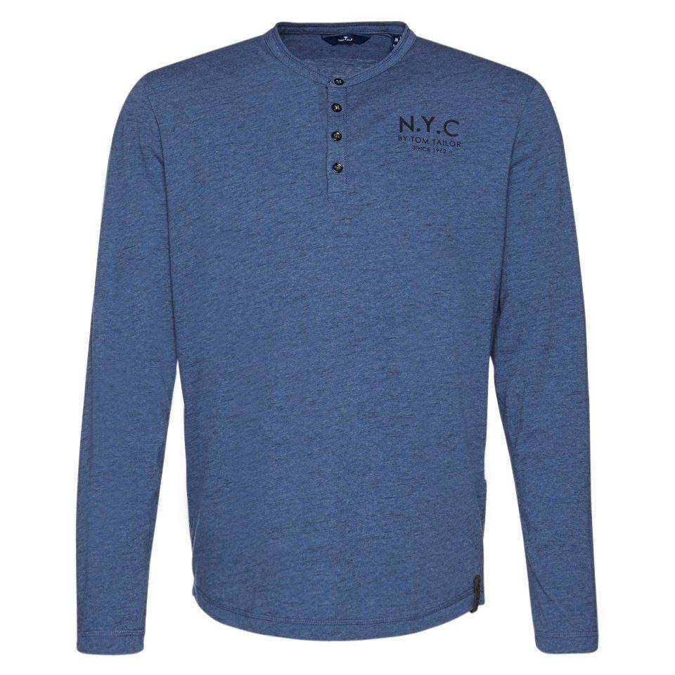 TOM TAILOR T-Shirt »Langarm-Shirt mit Print« in true navy blue
