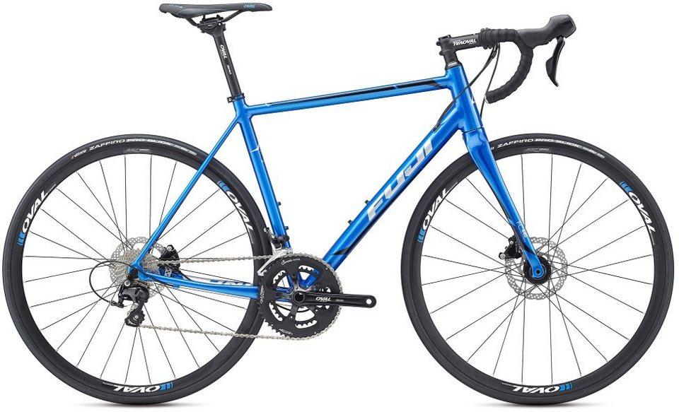 Fuji Herren Rennrad, 28 Zoll, 22 Gang Shimano 105 11-fach Schaltung, »Roubaix 1.3 Disc« in blau-silberfarben
