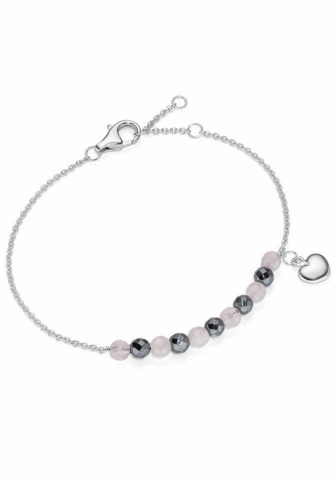 Firetti Silberarmband »Herz« mit Rosenquarz und Hämatit in Silber 925-rosa-grau