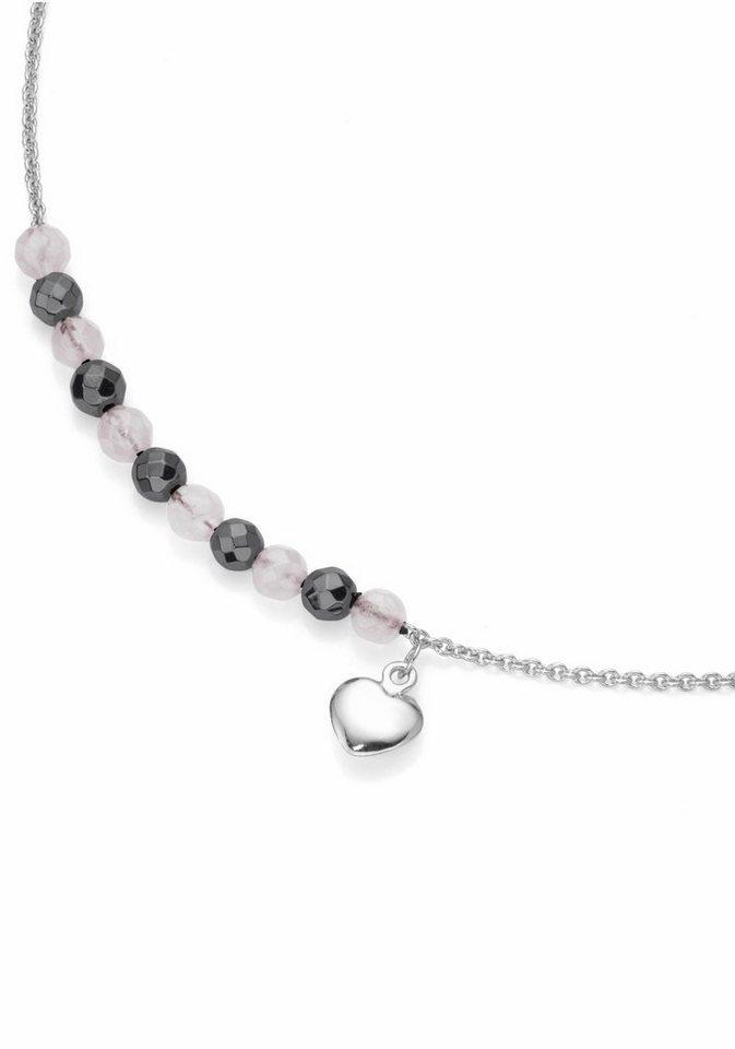 Firetti Silberkette »Herz« mit Rosenquarz und Hämatit in Silber 925-rosa-grau