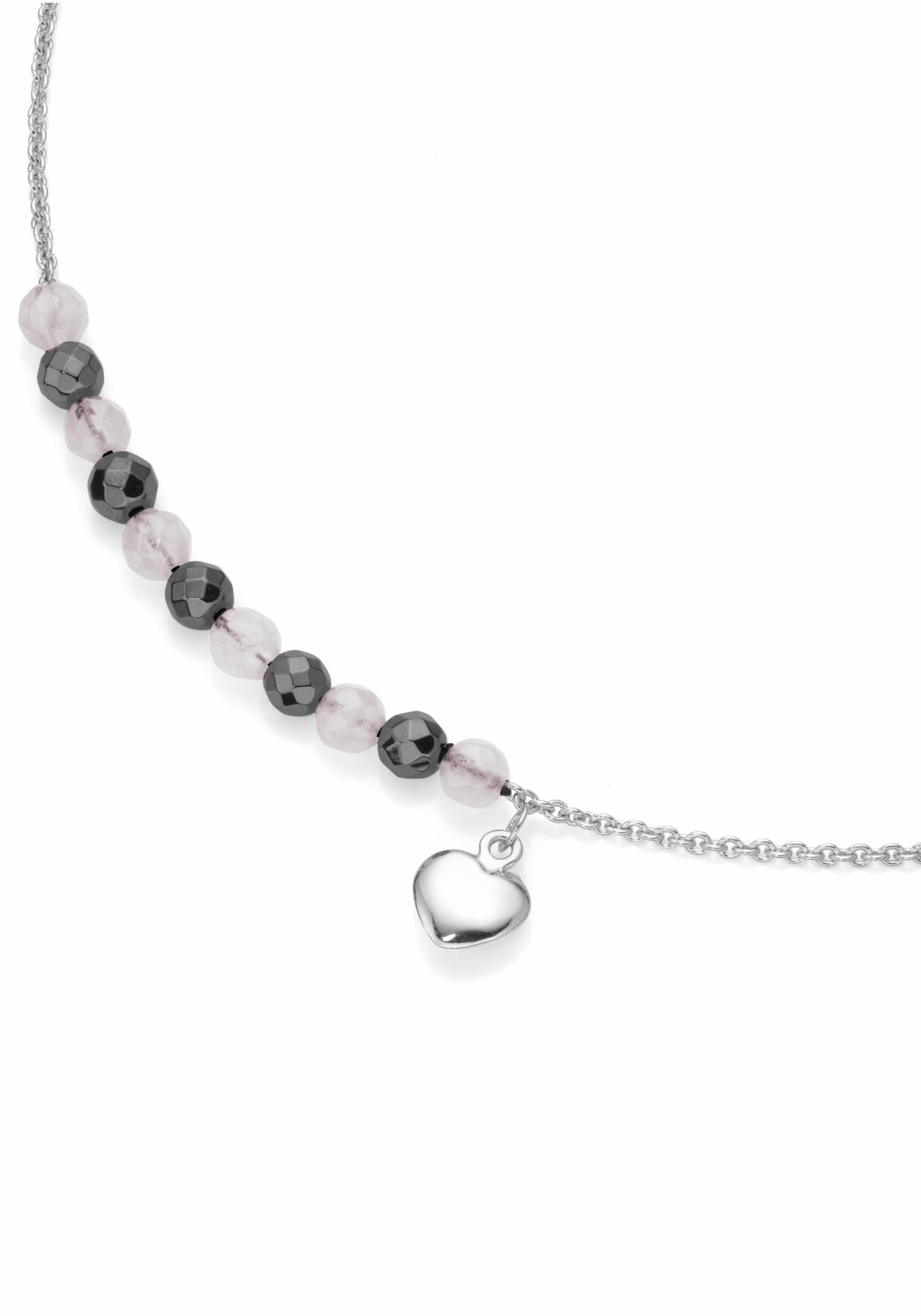 Firetti Silberkette »Herz«, mit Rosenquarz und Hämatit