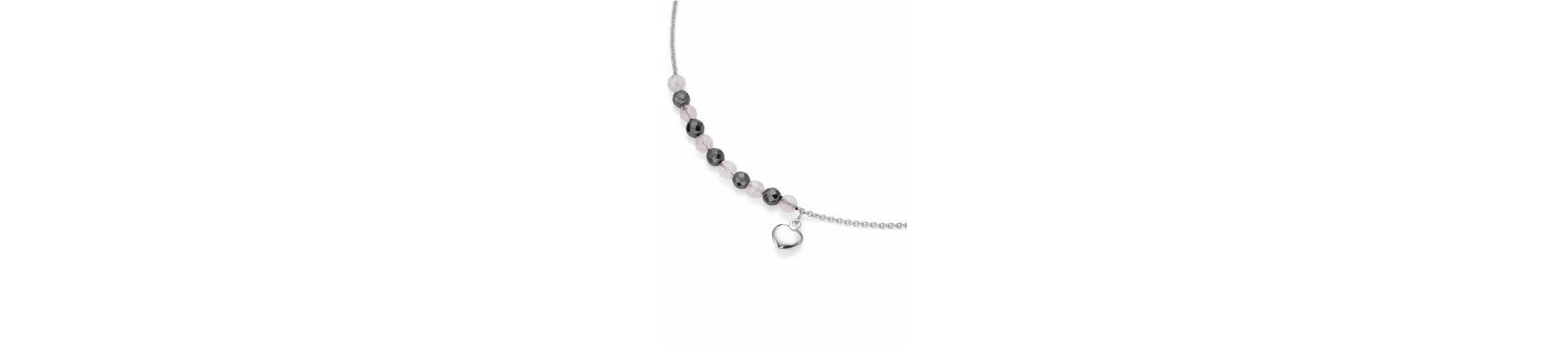 Firetti Silberkette »Herz« mit Rosenquarz und Hämatit