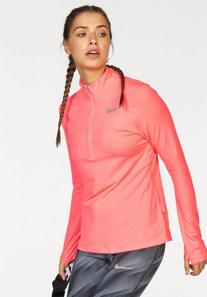 Nike Laufshirt »NIKE ELEMENT HALF ZIP« mit Daumenlöchern in koralle