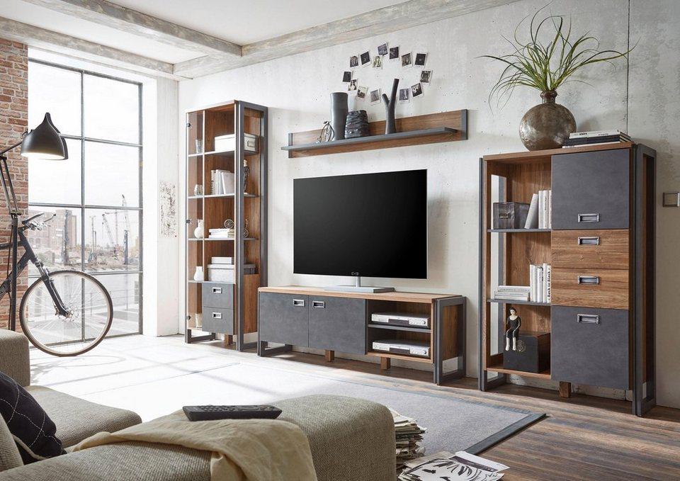 Home affaire Wohnwand (4tlg.) »Detroit4« im angesagten Industrial Look in braun/ schieferfarben