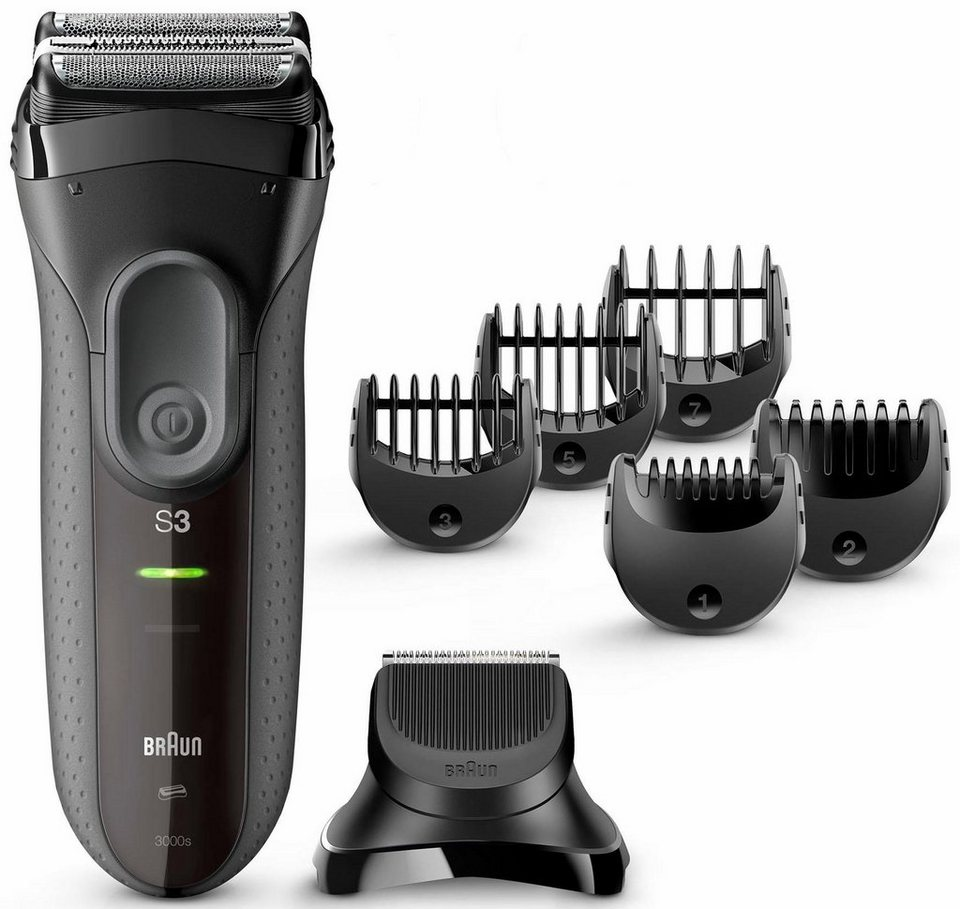 Braun Elektrorasierer Series 3 3000BT, Shave&Style 3-in-1 mit Präzisionstrimmer und 5 Kammaufsätzen in schwarz/grau