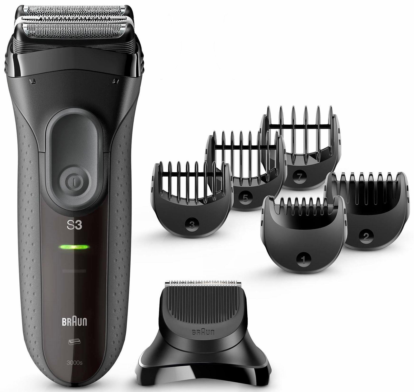 Braun Elektrorasierer Series 3 3000BT, Shave&Style 3-in-1 mit Präzisionstrimmer und 5 Kammaufsätzen