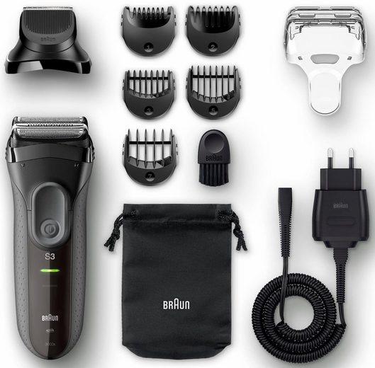 Braun Elektrorasierer Series 3 3000BT, Aufsätze: 5, Langhaartrimmer, Shave&Style 3-in-1