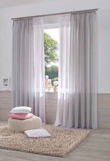 Gardine »Hannah-Uni«, Home affaire, Kräuselband (2 Stück), Vorhang, Fertiggardine, transparent