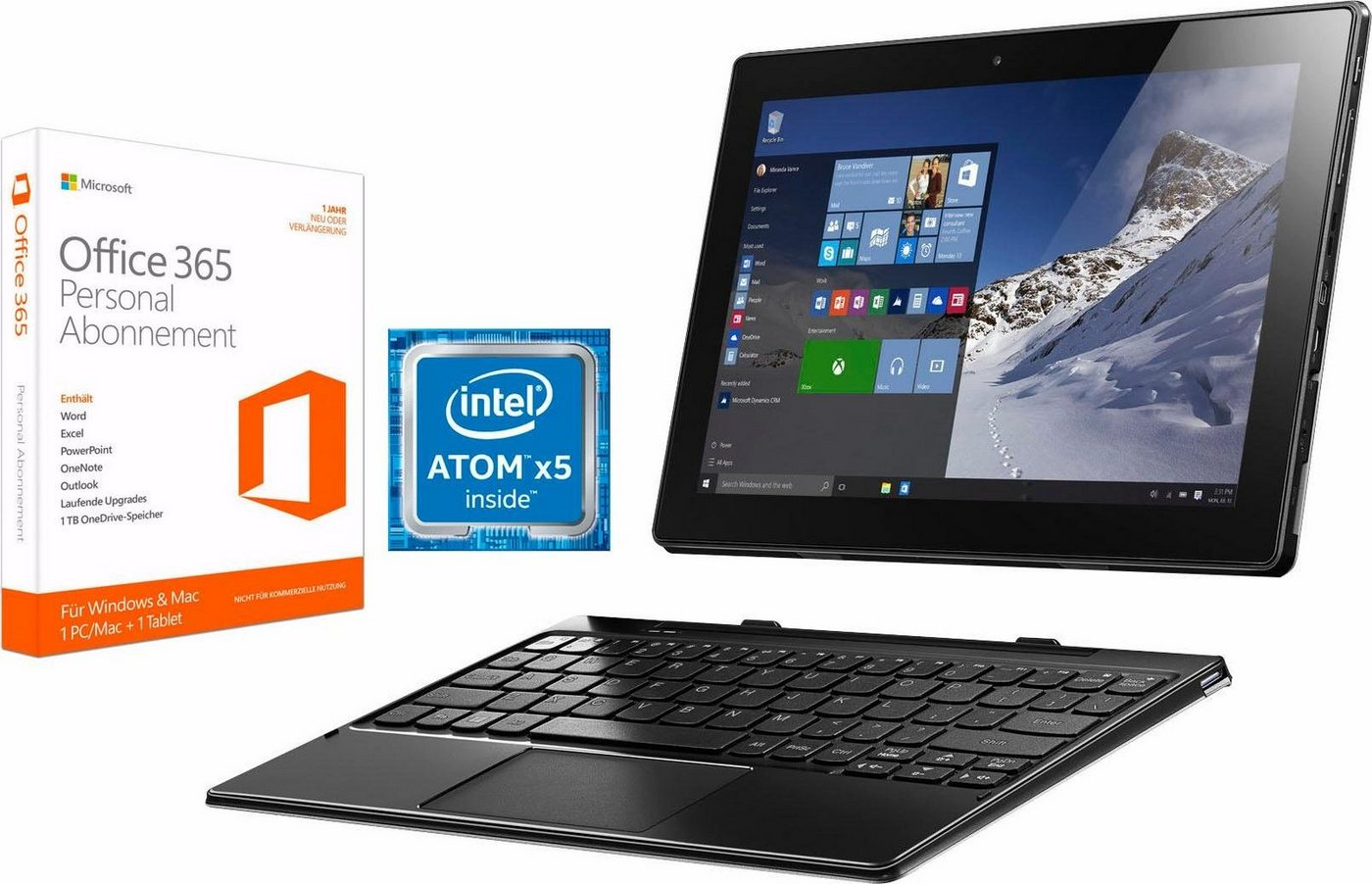 Lenovo Ideapad MIIX 310-10ICR Tablet-PC, Microsoft® Windows® 10 Home, Intel Atom - Preisvergleich