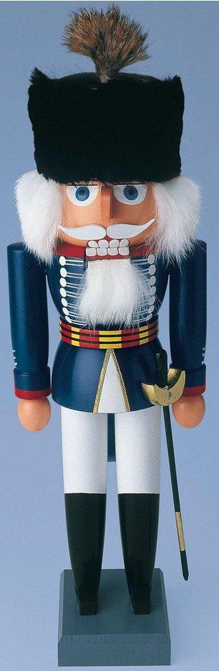 Albin Preißler, Nussknacker Husar, Höhe 26 cm in blau, weiß, schwarz