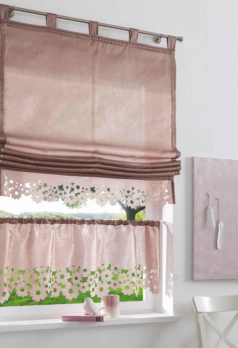 Scheibengardine »VENEDIG«, my home, Stangendurchzug (1 Stück), Fertiggardine, halbtransparent