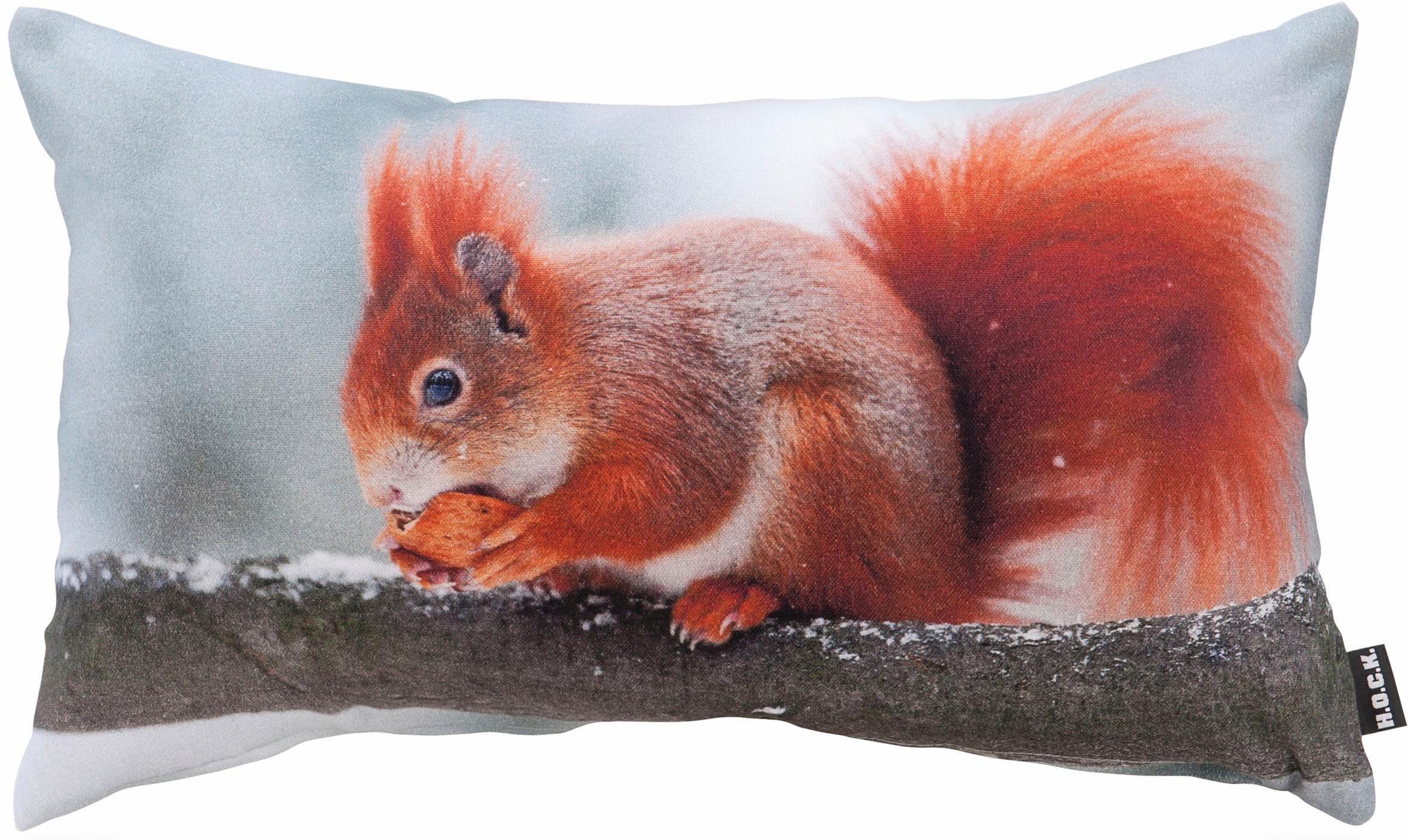 Hock Kissen mit Eichhörnchenmotiv