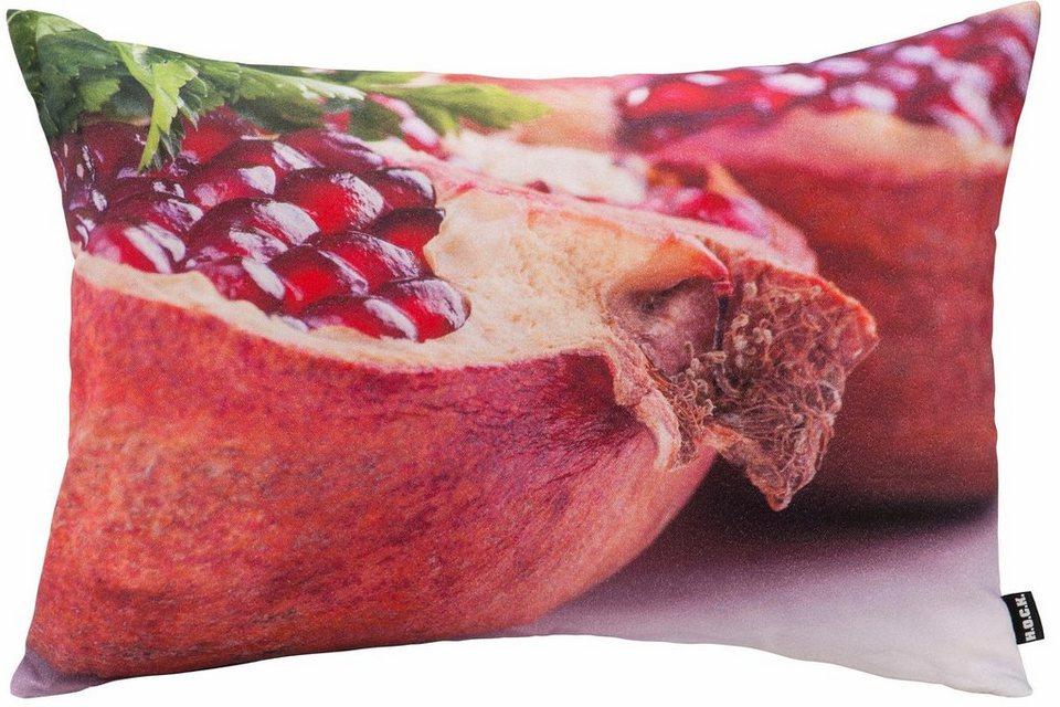 Hock Kissen mit Granatapfelmotiv in bunt