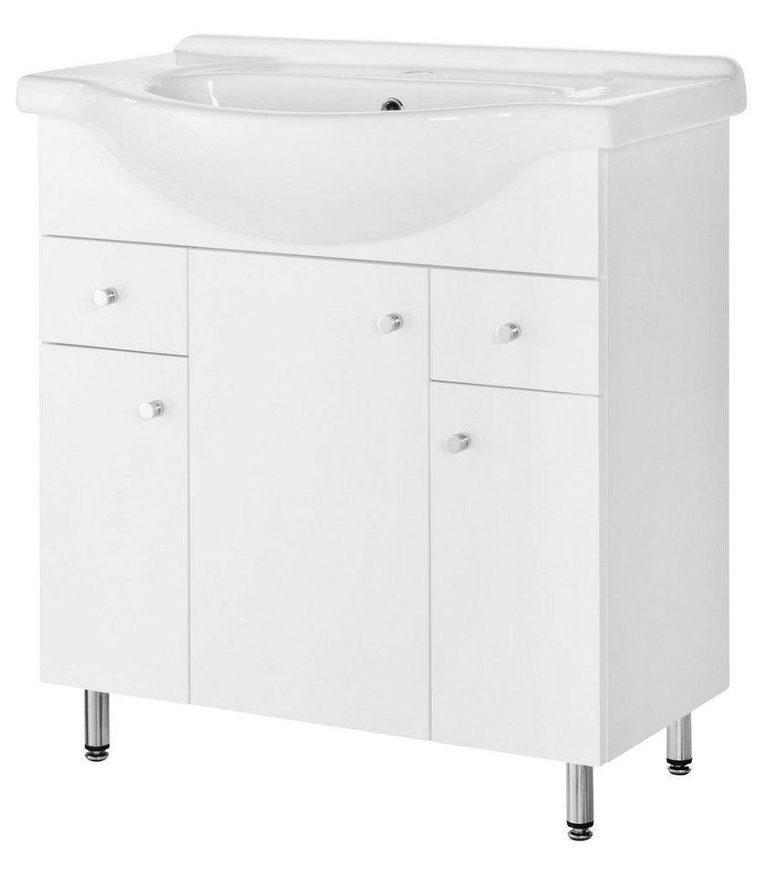 Set: Waschtisch »Posen«, Breite 76 cm, (2-tlg.) in weiß