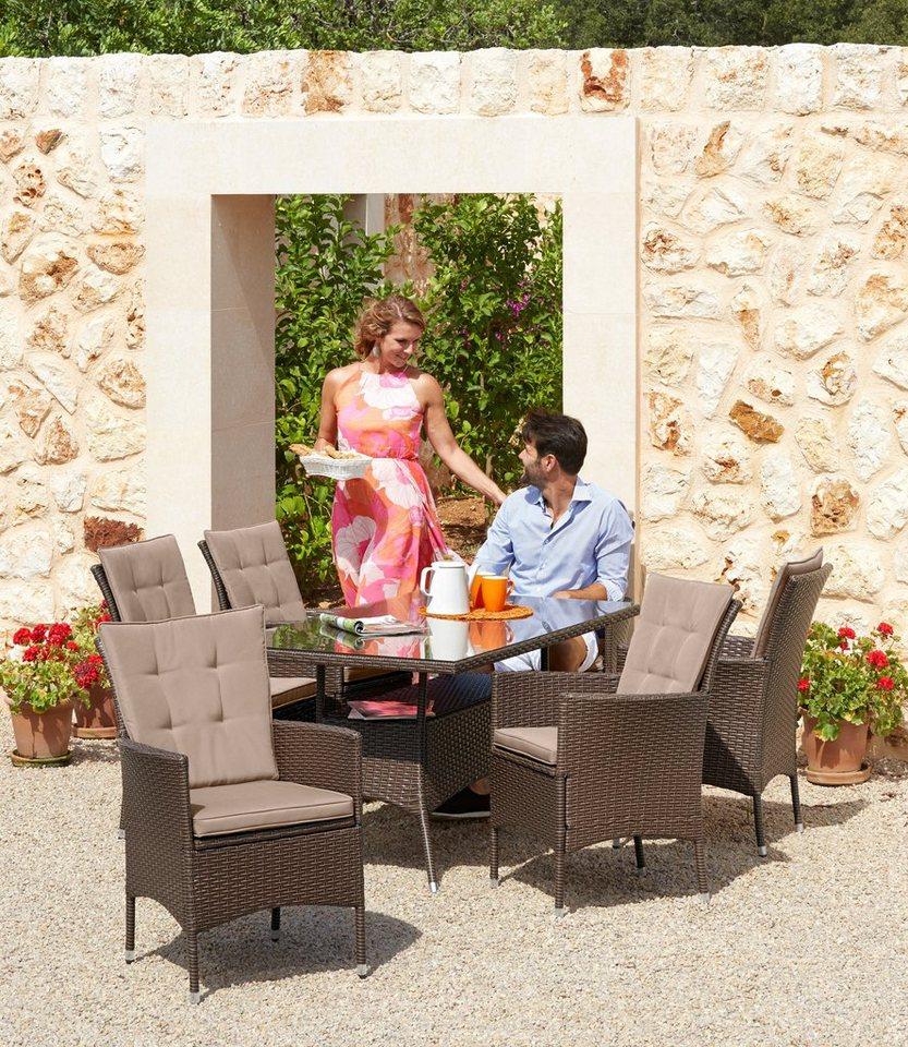 20-tlg. Gartenmöbelset »Santiago New«, 6 Sessel, Tisch 150x80 cm ...