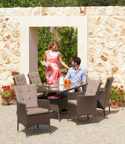 20 Tlg. Gartenmöbelset »Santiago New«, 6 Sessel, Tisch 150x80 Cm