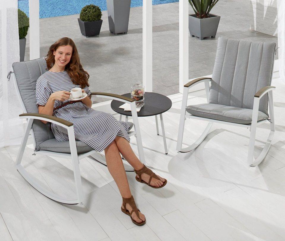 LECO Loungeset »Ambiente«, 3-tlg., 2 Schaukelstühle, Tisch, Stahl ...