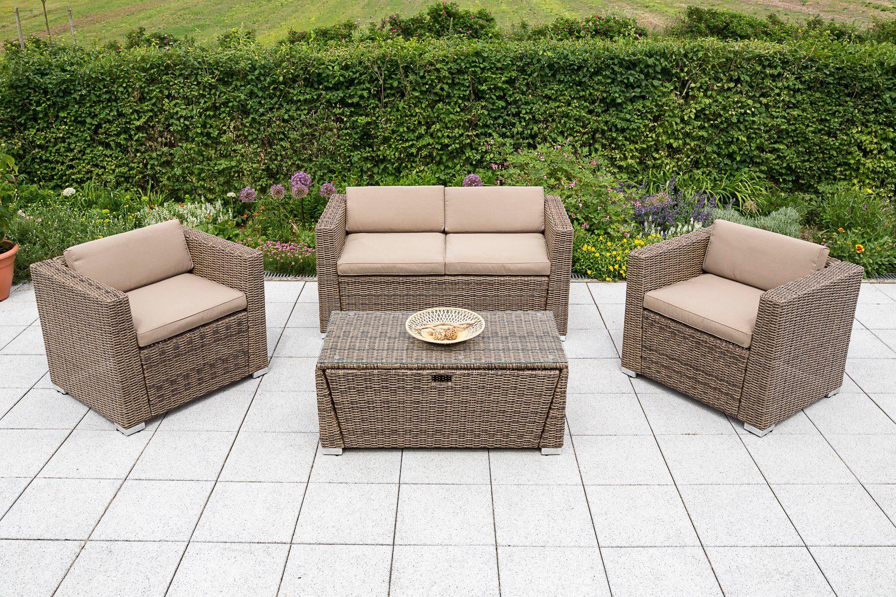 MERXX Loungeset »Lipari«, 12-tlg., 2 Sessel, 2er-Sofa, Tisch 110x55 cm, Polyrattan