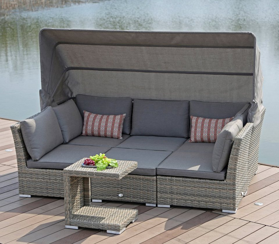 loungebett hawaii polyrattan braun inkl auflagen. Black Bedroom Furniture Sets. Home Design Ideas