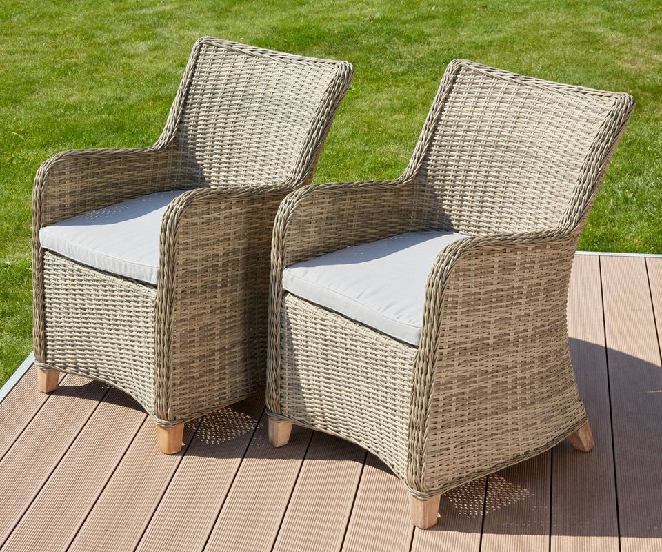 gartenstuhl nova 2er set polyrattan holz inkl auflagen natur online kaufen otto. Black Bedroom Furniture Sets. Home Design Ideas