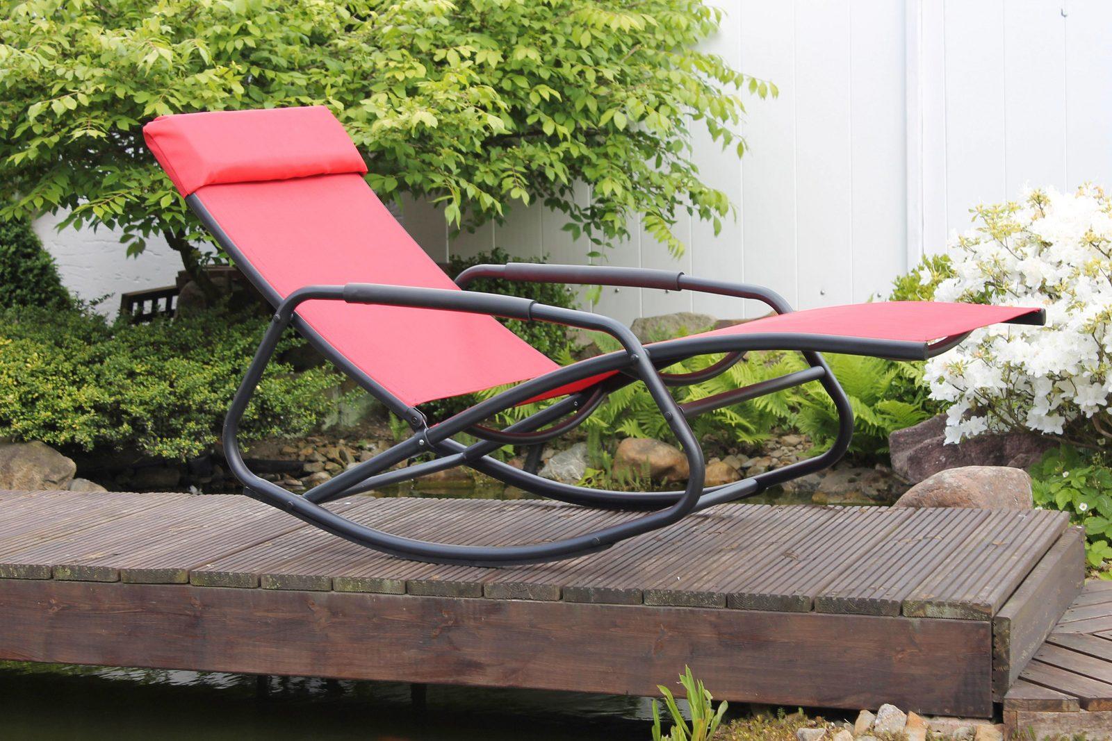 LECO Gartenliege, (L/B/H): ca. 154x61x82 cm, Stahl/Textilen, inkl. Kopfkissen - broschei