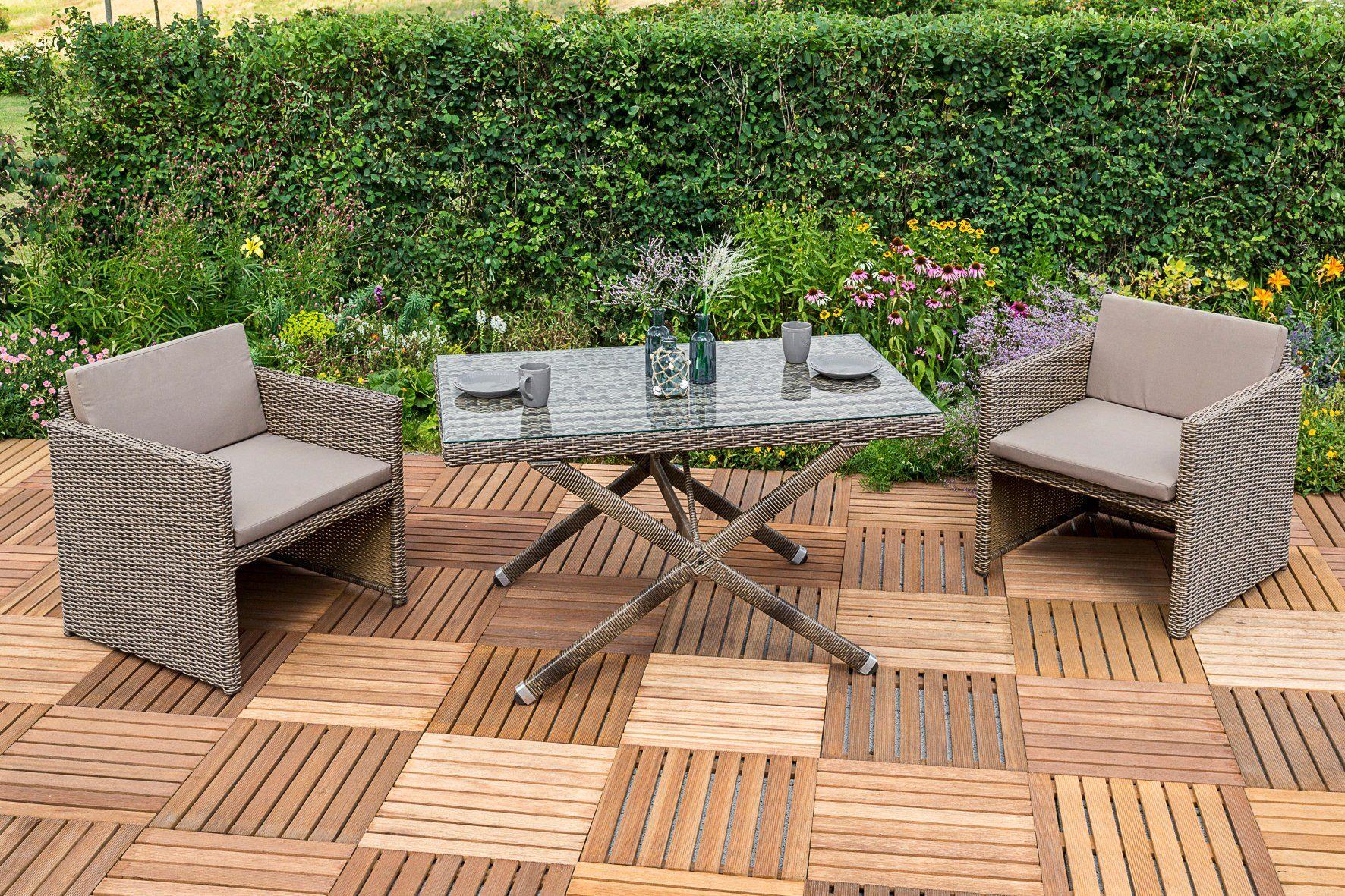 MERXX Gartenmöbelset »Avola«, 7-tlg., 2 Sessel, Tisch 130x80 cm, Polyrattan, natur