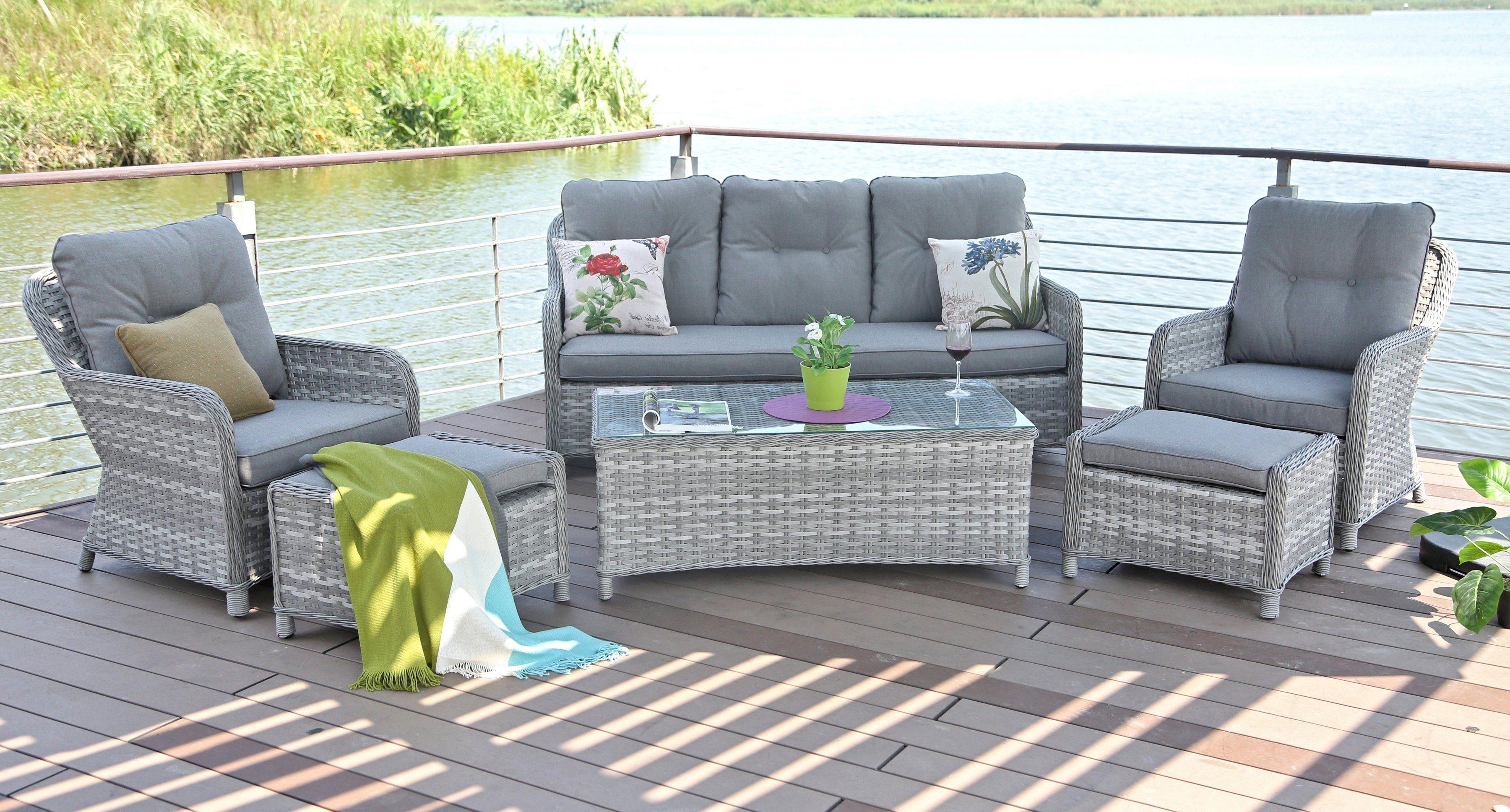 Gut Loungeset »Casablanca«, 2 Sessel, 3er-Sofa, 2 Fußhocker, Tisch  QS54