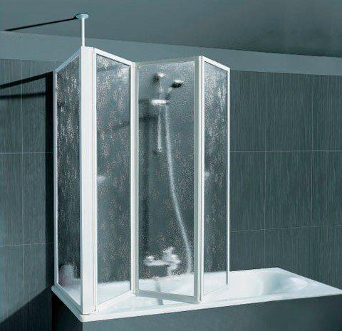 Badewannenaufsatz mit Teleskopstange und Seitenwand in alunatur