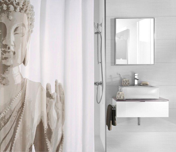 Duschvorhang »Buddha« in grau