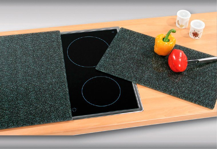 Herdabdeckplatten »Granit«, 2er-Set in grau