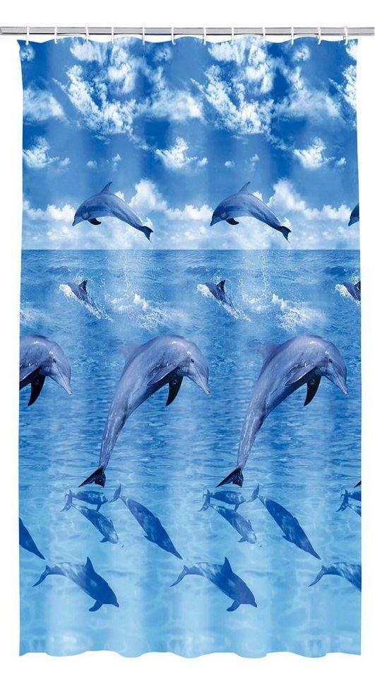 Duschvorhang »Delphin« in blau