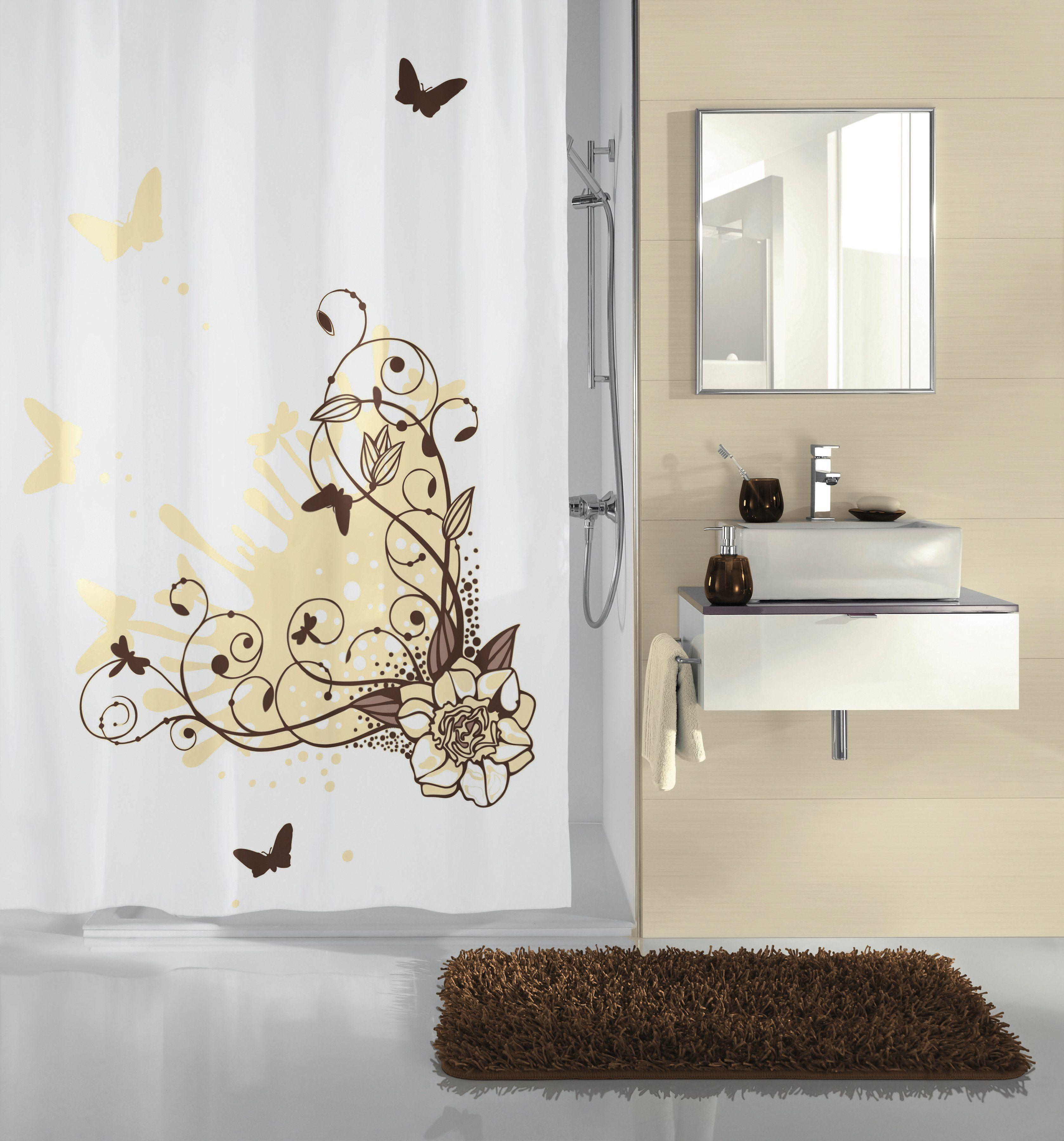 KLEINE WOLKE Duschvorhang »Brown Flower«, Breite 180 cm