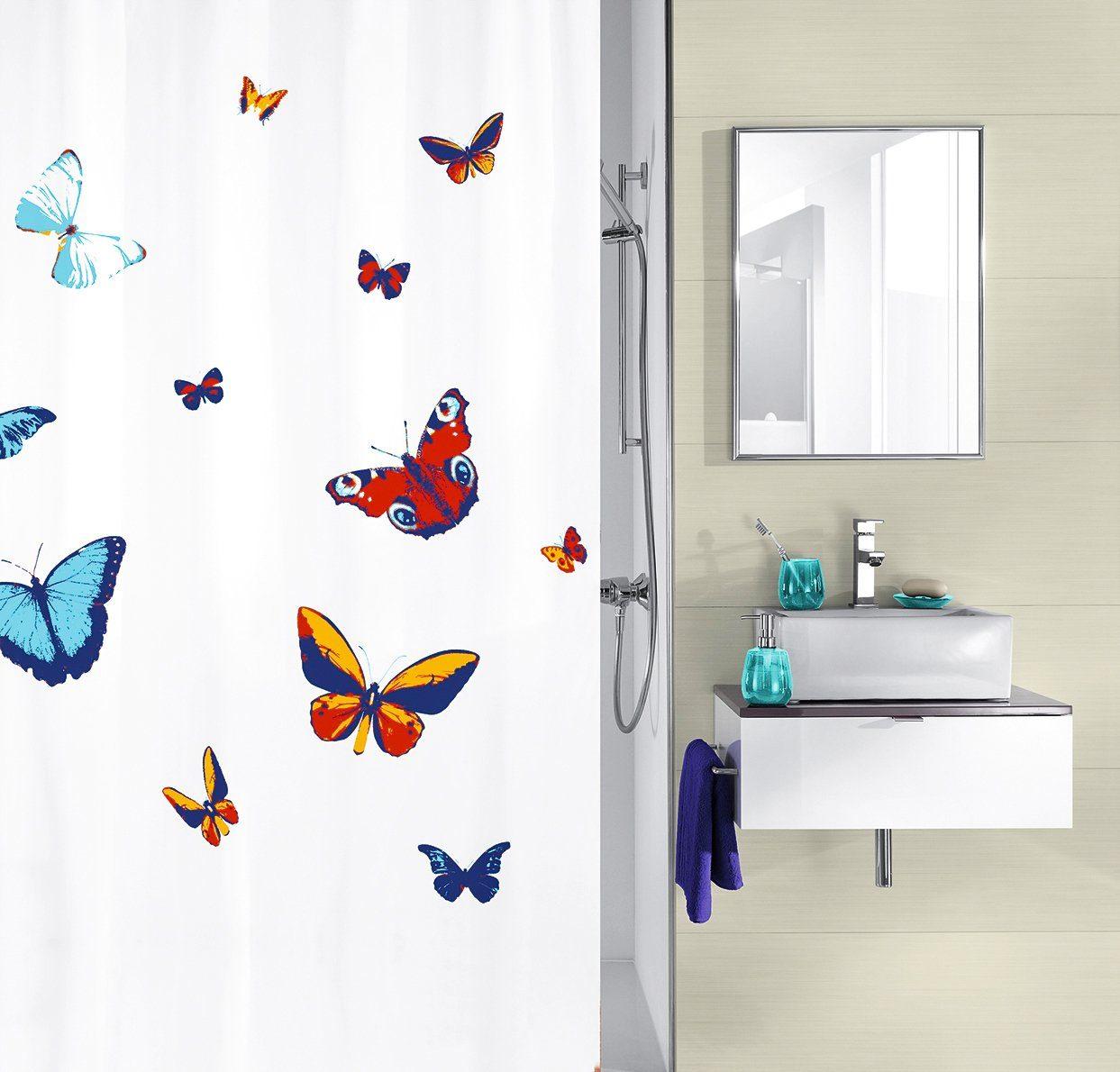 KLEINE WOLKE Duschvorhang »Butterfly«, Breite 180 cm