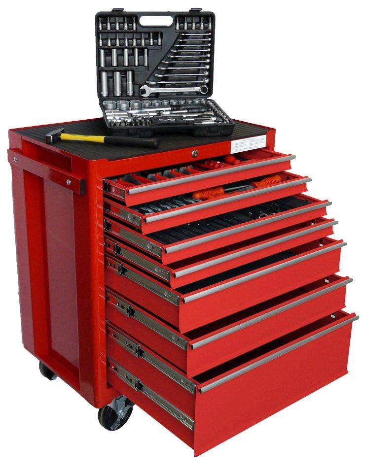 Werkstattwagen mit umfangreicher Werkzeugbestückung »FAMEX 843-40« in rot