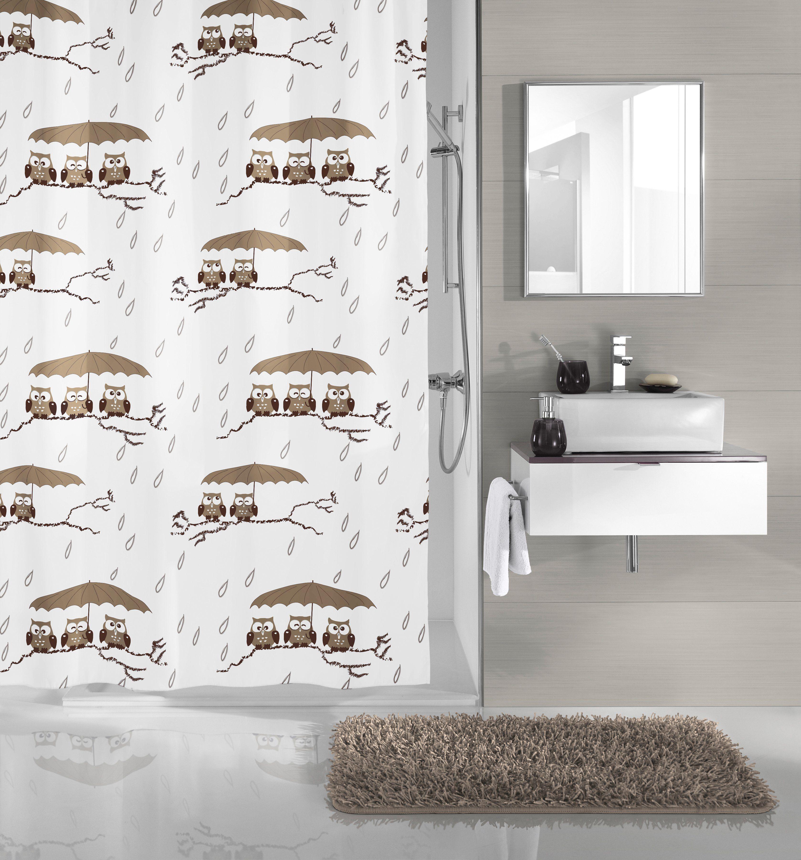 KLEINE WOLKE Duschvorhang »Eulen«, Breite 180 cm