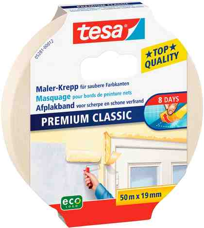 Tesa Malerband Classic für alle Standard Malerarbeiten, 50m x 19mm