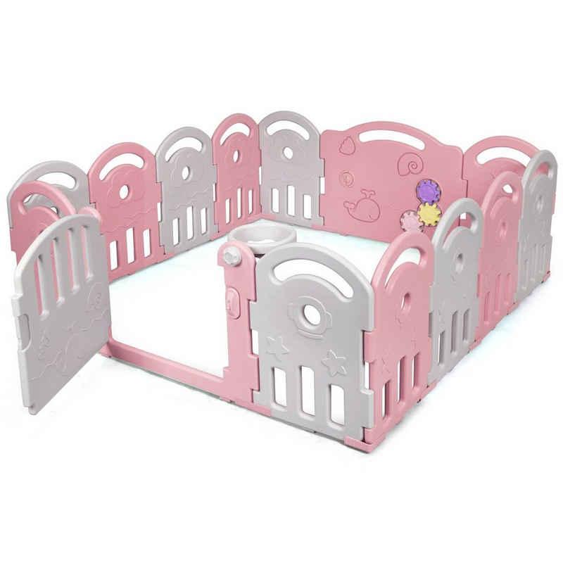 COSTWAY Laufgitter »Baby Laufstall, Absperrgitter, Krabbelgitter, Schutzgitter«, mit Musikbox, Spielzeugboard und Basketballkorb