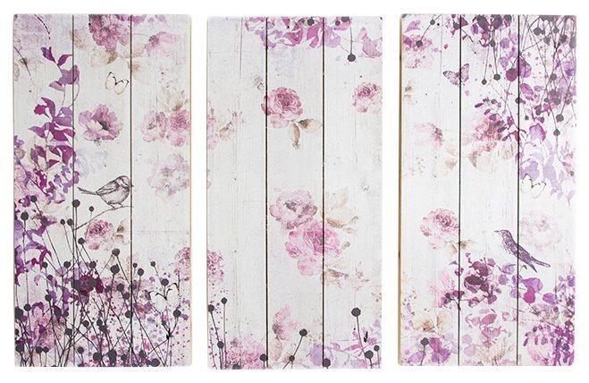 Holzbild »Vögel+Schmetterlinge«, 3-tlg. in lila