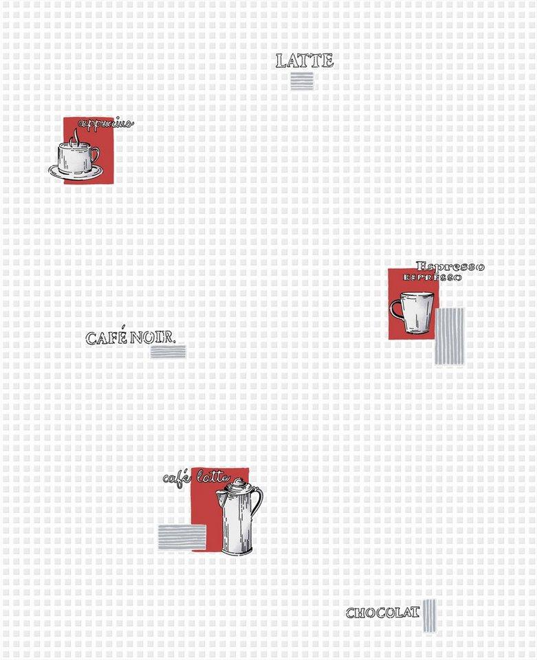 Papiertapete »Cafésorten« in weiß