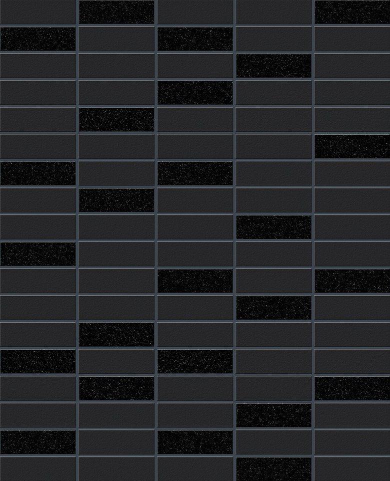 Vliestapete »Fliese Glanz« in schwarz