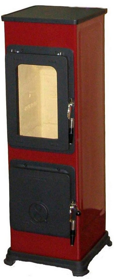 Werkstattofen »Bozen«, Stahl Rot, 5 kW, emaillierter Korpus, Gusstüren in rot